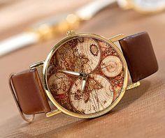World Map Watch Fashion Wrist Watch Leather Watch Women watches Unisex Watches Men watches Retro Style Friendship Watch-N2061 on Etsy, $3.59