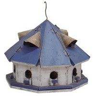 Hand crafted wooden birdhouse has 12 fun and functional nesting compartments. The Blue/Red Roof Motel Bird House is hand painted with an easy clean out and tin vents for proper ventilation. Non-toxic