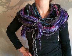 Crochet Scarf  Purple Blue Gray Infinity by MimisPearTree on Etsy