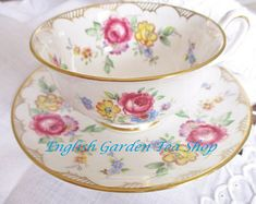 VINTAGE TEACUP and SAUCER by Queen Anne pink white striped