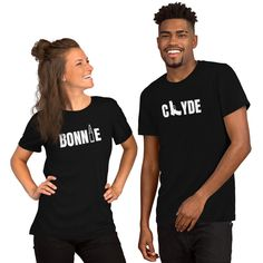 Bonnie & Clyde Matching Couple T-Shirts Matching Couple Gifts, Matching Couples, Bonnie Clyde, Perfect Gift For Him, Prism Color, Ash Color, Couple Shirts, Spun Cotton, Neckline