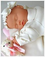 """Baby Christening Cake. Beautiful, and great idea... But who is gonna call dibs on the head? There's no way you can cut it """"tactfully""""."""