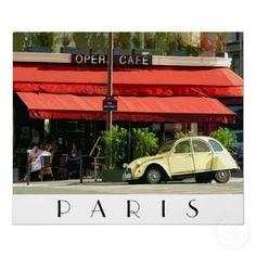 Old Citroen parked outside a café near the Place de la Bastille in Paris. $21.15 for this poster.