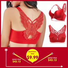 3b0a35e40d Butterfly Embroidery Front Closure Wireless Adjustable Gather Soft Bras  Butterfly Embroidery
