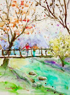 "Daily Paintworks - ""nearing seasons end"" - Original Fine Art for Sale - © Nora MacPhail Watercolor Print, Watercolour Paintings, Watercolours, Pen And Wash, Urban Sketchers, Fine Art Gallery, Art For Sale, Folk Art, Original Paintings"