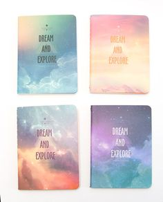Record all of your dreams and adventures in this set of four space / sky themed notebooks. Each notebook has a dreamy cover nebula-like cover.