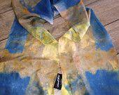 Olympian Blue Honey Gold Handpainted Silk Scarf