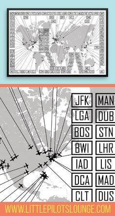 Are you a world traveler or know one? This airport code print is the perfect thing to track where you've been. It also makes for a great gift for the frequent flyer in your life.