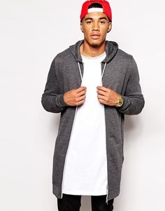 ASOS Super Longline Zip Up Hoodie