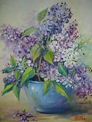 Oil painting by Helen Harper Helen Harper, Oil Paintings, Spring Flowers, Lilac, Heaven, Pottery, Art, Ceramics, Sky