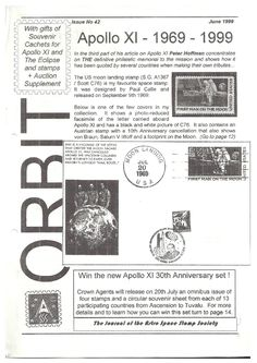 Orbit issue 42 (June 1999)  ORBIT is the official quarterly publication of The Astro Space Stamp Society, full of illustrations and informative space stamp and space cover articles, postal auctions, space news, and a new issues guide.