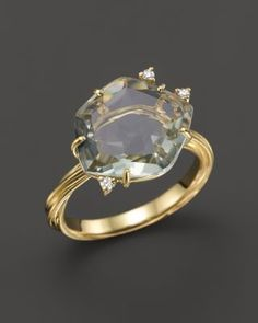 76ac10d4b06 VIANNA BRASIL 18K Yellow Gold Ring with Prasiolite and Diamond Accents