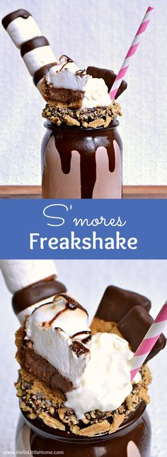 Homemade S'mores Freakshake ... an irresistible freakshake milkshake recipe inspired by the Australian treat! Learn how to make a chocolate freakshake featuring your favorite s'mores flavors! This DIY freakshake starts with a thick chocolate shake, then it's topped with whipped cream, chocolate dipped marshmallows and graham crackers, and finally, a mini s'mores pie slice! Perfect for any summer party! | Hello Little Home