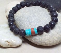 JEWELRY SALE with coupon code 25HOLIDAYS for 25% off on all Handmade Natural Semi Precious Gemstone Jewelry http://www.riverpebblestonewear.com  KONA- Lava Men's Bracelet with Turquoise Heishi and Bauxite Trade Focal beads