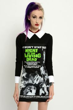 Long sleeved Night of the Living Dead Collar Dress! Altered from a large men's t-shirt. White collar and cuffs added along with a back zipper. Professionally sewn. So rad and comfortable!
