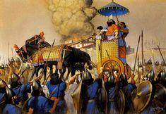 Tiglath-Pilesser III, rey de Asiria, y reorganizador del ejército asirio aclamado por sus guerreros subido a su carro de mando, finales s VIII a.C.
