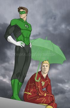 Green Lantern and The Flash. Best Friends. -- I wish I had a friend with a magic ring like that...