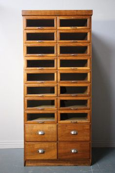 1920's Multi Drawer Antique Oak Shirt Cabinet