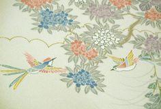 RARE Yuzen Bird garden scene Vintage Japanese by CosimaOrimono