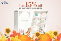 Get Flat 15% Discount till Thanksgiving Day on Custom Bath Bomb Boxes. With Free Shipping and Free Design Support. For more info: Call: 888-851-0765 Email: support@thecustompackaging.com
