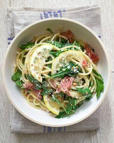 Spaghetti with Lemon, Prosciutto, and Arugula