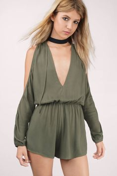 "Search ""Be My Beauty Olive Romper"" on Tobi.com! deep v plunging neckling plunge neck flowy jumper playsuit cotton stretchy comfy #ShopTobi #fashion shop buy cheap inexpensive ideas chic fashion style fashionable stylish comfy simple chic essential capsule Basic outfit simple easy trendy ideas for women teens cute college fall winter summer spring outfit outfits california LA"