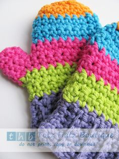 SALE Ready to Ship Crochet Toddler Mittens Cotton by totzhatz