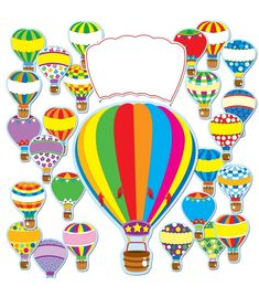 Carson Dellosa Hot Air Balloons Bulletin Board Set This year, reach new heights of success! This colorful, balloon-themed bulletin board set includes: A large hot air balloon x A blank white balloon overlay 36 small balloons A resource guide Hot Air Balloon Classroom Theme, Classroom Themes, Classroom Signs, Classroom Organisation, Classroom Displays, Organization, Small Balloons, White Balloons, Colorful Bulletin Boards