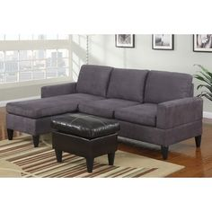 Poundex -3 pc Grey microfiber small space sectional sofa with reversible chaise and leather like vinyl ottoman