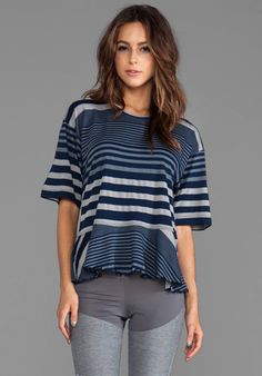 ADIDAS BY STELLA MCCARTNEY Stu Striped Tee in Collegiate Navy/Lead/Core Heather - adidas by Stella McCartney