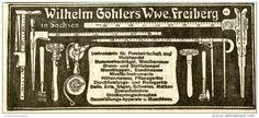 Original-Werbung/ Anzeige 1907 - INSTRUMENTE / WERKZEUGE / WILHELM GÖHLERS WWE. FREIBERG  - ca. 110 x 45 mm