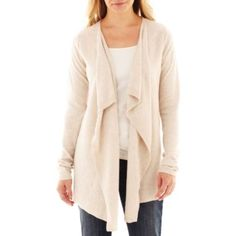 I bought two of these, in grey and black.  I love them.  a.n.a® Long-Sleeve Flyaway Cardigan - Petite  found at @JCPenney