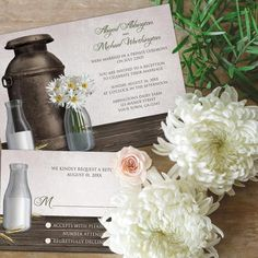 Rustic wood with vintage milk can and bottles with daisy accents. http://lemonleafprints.com/wedding-invitations-rustic-country-dairy-farm.html
