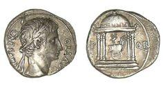 Avers : Octave Auguste, Premier Empereur romain (27 av. JC) Revers : SPQR et temple à quatre colonnes