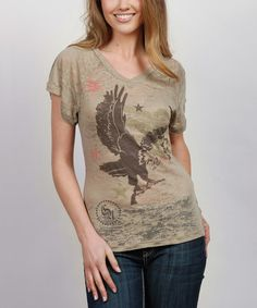 Take a look at this Khaki Studded Burnout Top - Women by Cowgirl Up on #zulily today!