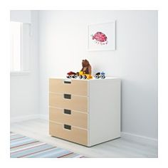 IKEA - STUVA, Storage combination with drawers, white/yellow, , Low storage makes it easier for children to reach and organise their things.Can be used either free-standing or wall-mounted.Stands steady also on uneven floors since adjustable feet are included.The drawer fronts have rounded corners and a cut-out handle with smooth edges.