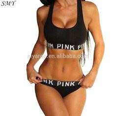 2017 women's pink bra set brand underwear women crop bra Briefs fitness suits black and gray bra set underwear