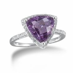 Sterling Silver, Amethyst and Diamond Ring