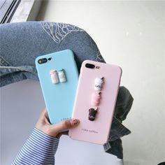 Популярные корейские ins Стиль розовый синий кофе с молоком телефон чехлы для iPhone 6 6S 6 плюс 6S плюс 7 7 Plus средства PC жесткий чехол купить на AliExpress
