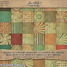Tim Holtz Idea Ology Paper Stash Paper Pad 12X12 36 Sheets Retro Grunge