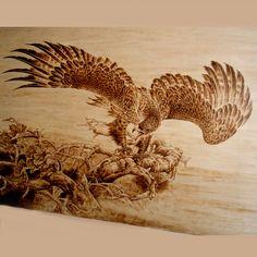 pyrography  of Japan   Wood Burning Eagle 3