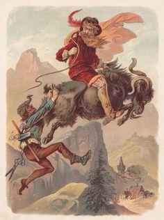 Sagen und Schwänke von Rübezahl dem Herrn des Riesengebirge  Rübezahl und der Schneider - Illustrationen von Carl Offterdinger (1898)
