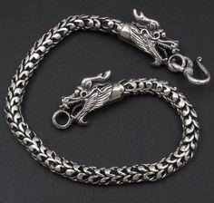 "33g 9"" 2 Head Dragon Scale Handmade Mens Bracelet 925 Sterling Solid Silver | eBay"