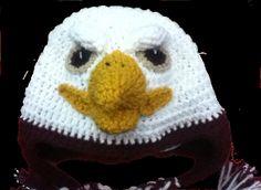 Crochet Eagle Hat, Custom Colors, All Sizes Crochet Adult Hat, All Free Crochet, Crochet Baby Hats, Knit Or Crochet, Crochet For Kids, Crochet Crafts, Crochet Projects, Knitted Hats, Crochet Character Hats