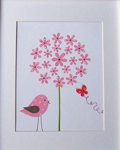 Nursery Art, Baby Room Decor, Kids Wall Art, Girls Decor, Bird, Butterfly, Flower, Pink, Pink Bird and the Butterfly, 8x10 Print