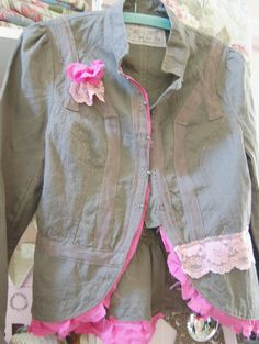 Fitted Jacket Brown Green Altered Eco Prairie by OfLinenandLace, $48.50