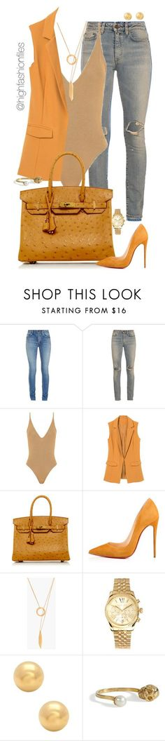 """Mustard"" by highfashionfiles ❤ liked on Polyvore featuring Yves Saint Laurent, Hermès, Christian Louboutin, Madewell, Michael Kors and Delfina Delettrez"