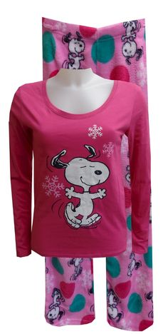Peanuts Snoopy Pink Plush Pajama These are a classic best seller! This years version showcases Snoopy surrounded by snowflakes ...