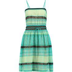 M Missoni Crochet-knit cotton-blend dress ($275) ❤ liked on Polyvore featuring dresses, missoni, vestido, light green, green fitted dress, green slip, slim fitted dresses, fitted dresses and green dress