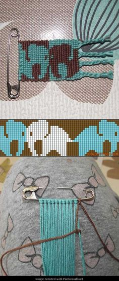 sweet elephants in single half hitch macrame - forward or back to give desired c. - sweet elephants in single half hitch macrame – forward or back to give desired colour – with ph - Friendship Bracelets Tutorial, Friendship Bracelet Patterns, Bracelet Tutorial, Macrame Patterns, Loom Patterns, Macrame Jewelry, Macrame Bracelets, Knotted Bracelet, Bracelet Fil